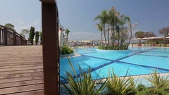 Beautiful water pool, cutaway video tilt to the right, Turkey Stock Footage