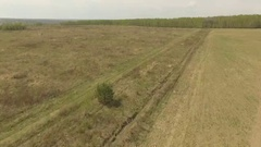 Russian field in spring Aerial shot Low altitude Stock Footage