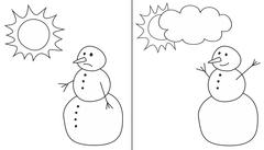 Happy and sad snowman illustrations isolated on white background Stock Illustration