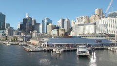 Moving shot of Darling Harbour of Sydney in daytime Stock Footage