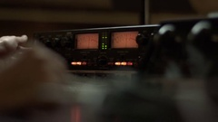 Soundman working with an equalization Stock Footage