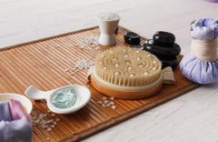 Spa treatment, massage and aromatherapy top view background Stock Photos