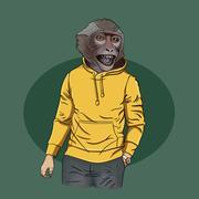 Monkey teen wearing hoodie with print, furry art illustration, Stock Illustration