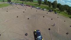 BMW e36 drifting on slalom track Stock Footage
