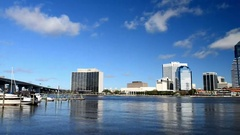 JACKSONVILLE, FL City skyline on a beautiful day. Jacksonville Stock Footage