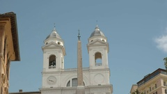 Tilt down shot of the spanish steps in rome Stock Footage