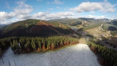 Aerial view of the ski resort Bukovel in late autumn Stock Footage