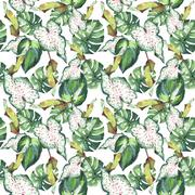 Tropical Hawaii leaves palm tree pattern in a watercolor style isolated. Stock Illustration