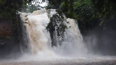 Close up of big water fall in Thailand nation park Stock Footage