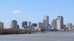 NEW ORLEANS -Beautiful city skyline from Mississippi The city Stock Footage