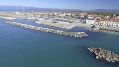 Skyline of Marina di Pisa, Tuscany Coast aerial view, Italy Stock Footage