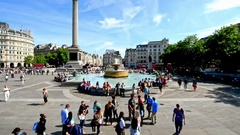 LONDON - Tourists visit Trafalgar Square in London, time accelerated Stock Footage