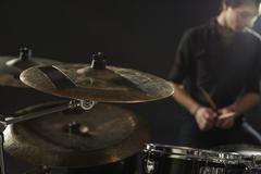 Close Up Of Cymbals On Drummer's Drum Kit Stock Photos
