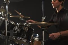 Close Up Of High Hat Cymbals On Drummer's Drum Kit Stock Photos