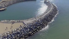 Sea port entrance, aerial view Stock Footage