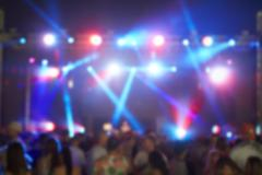 Defocused View Of Audience At Music Festival Stock Photos