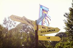 Close Up Of Signpost At Outdoor Music Festival Stock Photos