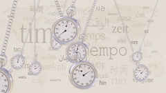 Swinging retro stopwatches against same captions in many languages. Time Stock Footage