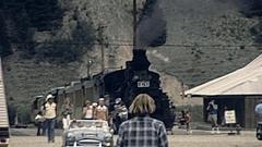 Silverton, Colorado, USA 1977: people walk in town Stock Footage
