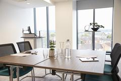 Table In Empty Office Meeting Room Stock Photos