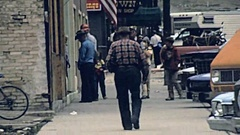Silverton, Colorado, USA 1977: people walk in the street Stock Footage