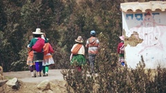 Women and children, Peruvian Quechua Stock Footage