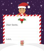 Handsome Asian Santa in uniform suit is holding a paper and smiling friendly. Stock Illustration