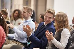 Audience Applauding Speaker After Conference Presentation Stock Photos