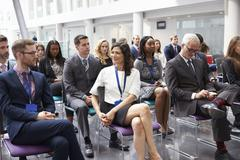 Audience Waiting For Speaker At Conference Presentation Stock Photos