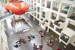 Modernist interior of a university atrium, elevated view Stock Photos