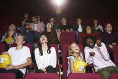 Audience In Cinema Watching Comedy Film Kuvituskuvat