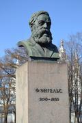 Statue of Friedrich Engels in St.Petersburg Stock Photos