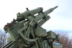 Old antiaircraft gun of the Second World War Stock Photos