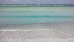 Wide panorama turquoise sea and white sandy beach, tropical exotic paradise Stock Footage
