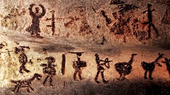 Prehistoric mural drawings in Magura cave Stock Footage