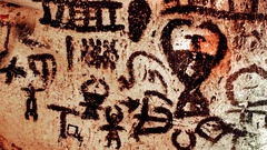 Neolithic drawings on the walls inside Magura cave Stock Footage