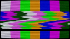 Old TV test pattern colorful stripes damaged by glitches, banding and noise Stock Footage
