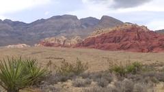 Red Rock Canyon Pan - Mojave Desert Stock Footage