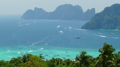 Many tourist yachts near Phi Phi Don island Stock Footage