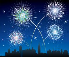Vector fireworks over a city Stock Illustration