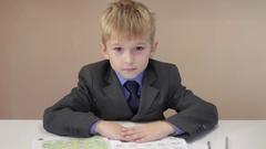 Cherful boy teaches the alphabet Stock Footage