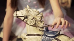 Swaying wooden horse on the floor. Wooden horse on a floor, a close up Stock Footage