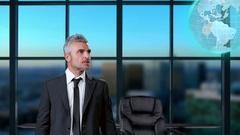 Businessman holding digital communication globe Stock Footage