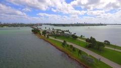 Aerial video Broad Causeway Miami Beach Stock Footage