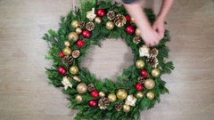 Creating a Christmas wreath Stock Footage