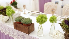 Wedding Decor in White and Purple Color Stock Footage