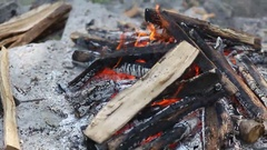 Bonfire with pieces of wood Stock Footage