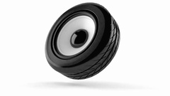 Car audio concept isolated on white background Stock Footage