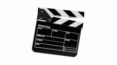 Movie clapper isolated on white background Stock Footage