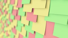 Colorful sticky notes on the board, shallow focus. Office work or reminder Stock Footage